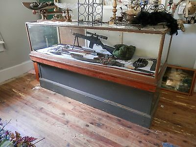 6' Display Case Large Antique Glass Wood Two Piece  Brown / Black 0011010