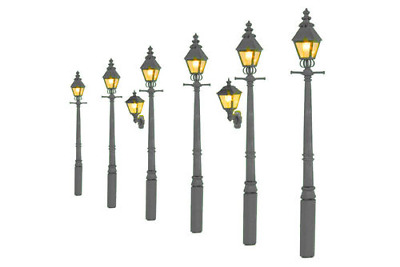 Lamps lights parts accessories oo gauge model railways gaugemaster gm860 taper post gas lamp grey undercoat value pack oo gauge mozeypictures Gallery