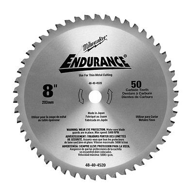 "8"" x 50T Circular Saw Blade Milwaukee 48-40-4520 New"