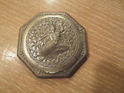 Vintage 900 Sterling Silver Asian Theme Compact With Mirror