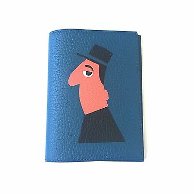 NWT Moynat Paris Blue Leather Mambo Marquetry Artwork Passport Wallet AUTHENTIC