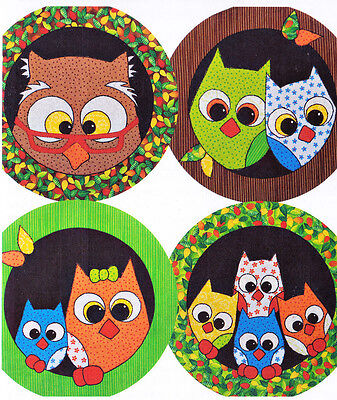 PATTERN - Owl Mats - fun pieced & applique round owl placemats PATTERN