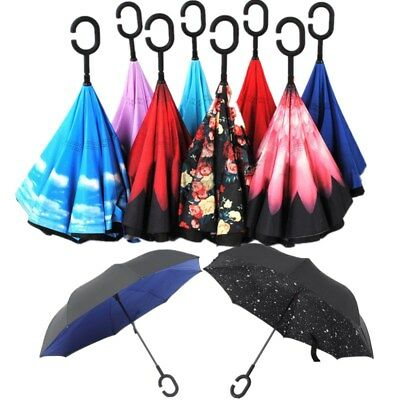 Windproof Double Layer Upside Down Inverted Folding C-Handle Reverse Umbrella