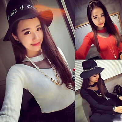 Fashion Women Ladies Long Sleeve Lace Tops Knitted Casual Blouse Tee shirt Tops