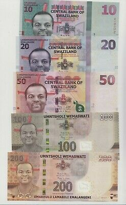 New Swaziland Complete Banknotes set (2010/2014) series, all UNC