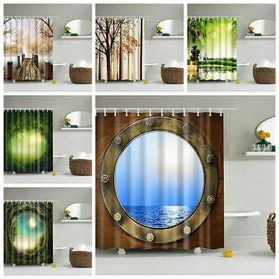 "71x71""3D Printed Design Waterproof Bathroom Fabric Shower Curtain Set With Hooks"