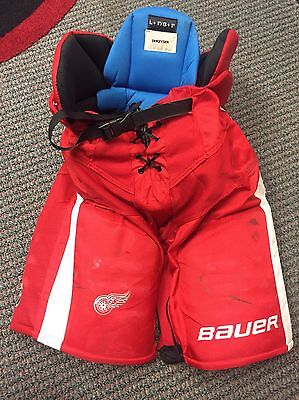NHL Game used Pro Stock Bauer hockey Pants Detroit Red Wings Large Dekeyser