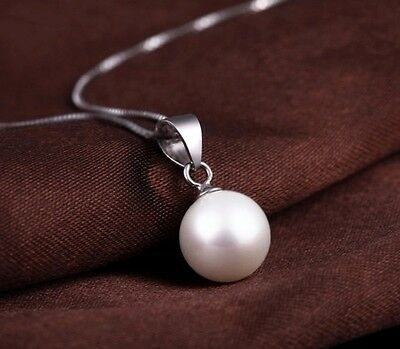 Fashion Women 925 Sterling Silver 10mm Round White Pearl Chain Necklace Pendant