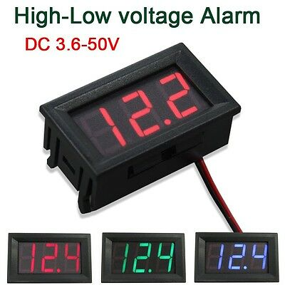 DC 3.6-50V Digital Voltmeter High-Low voltage Alarm led tester 5v 12v 24v car