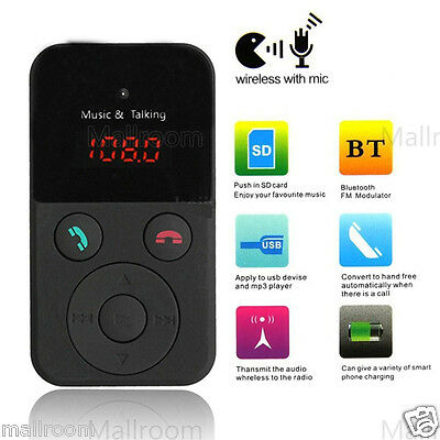 Wireless Bluetooth Auto MP3 Player FM Transmitter Modulator USB SD LCD Charger