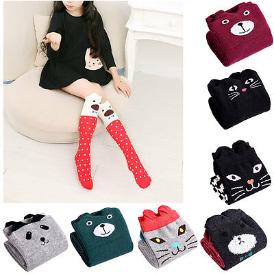 Kids Children Cute 3D Cartoon High Socks Over Knee Animal Pattern Warm Stockings
