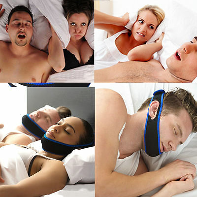 UK Adjustable Anti Snoring Chin Strap Jaw Sleep Aid Belt Snore Apnea FIX Support