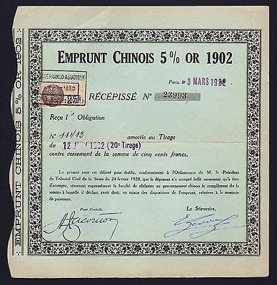 1932 China: Chinese Gold Loan - Emprunt Chinois 5% Or 1902