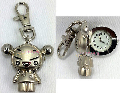 Chinese Pucca Silver Figure Children Kids Boys Keychain Keyring Watch