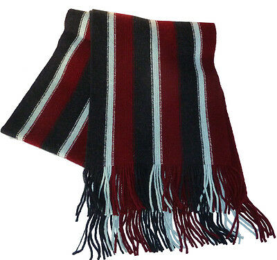Royal Air Force lambswool knitted scarf in the RAF colours. Made in Scotland.