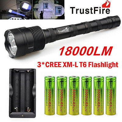 TrustFire 18000LM 3X CREE XML T6 LED Flashlight Torch + 6x 18650 Battery+Charger