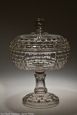 "c. 1887 No. 870  BRICK WINDOW by Central Glass CRYSTAL 7 1/4"" Compote w/Cover"