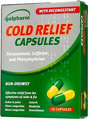 Galpharm Cold Relief Caps With Decongestant ~ Non-Drowsy ~ 48 Capsules