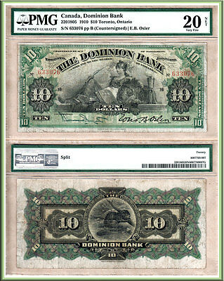 Scarce Type 220-18-05 1910 $10 Dominion Bank (Today's TD Bank) PMG Very Fine 20