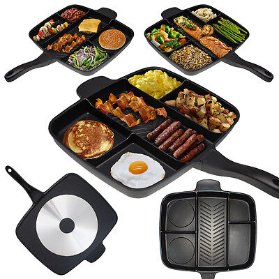"""The Master Pan Non-Stick Divided Meal Skillet 15"""" Grill Fry Oven/Dishwasher Safe"""