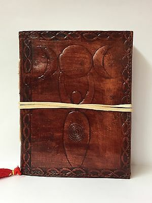 Handmade Leather Book of Shadows ~Handmade Paper ~ Brown Goddess & Triple Moon