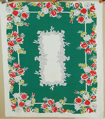 GORGEOUS Vintage Mid Century Modern Tulip Floral Antique Tablecloth ~NICE GREEN!