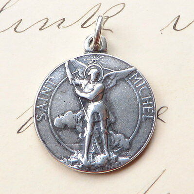 Sterling Silver St Michael the Archangel Medal - Antique Replica
