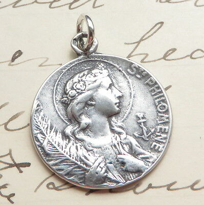 Sterling Silver St Philomena Medal - Patron of babies & infertility - Antique Re
