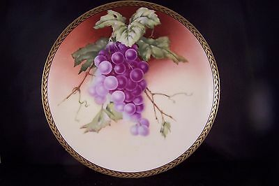 Antique Hand Painted Rosenthal Grapes Motif Plate with fine Etched Gold Trim