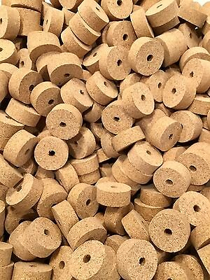 "Cork Rings 12  Natural Superior Burl 1 1/4"" X 1/2"" X 1/4"" Hole"