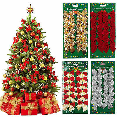 24 Pcs Bowknot Ornament Party Hanging Decoration Christmas Tree Decor Wedding