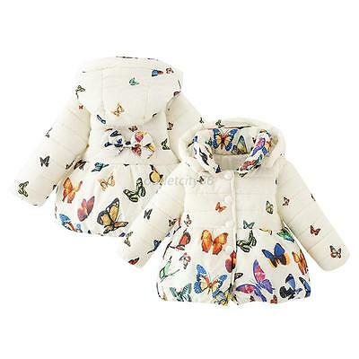 0-24M Toddler Baby Girls Kids Warm Cotton Coat Winter Butterfly Jacket Outerwear