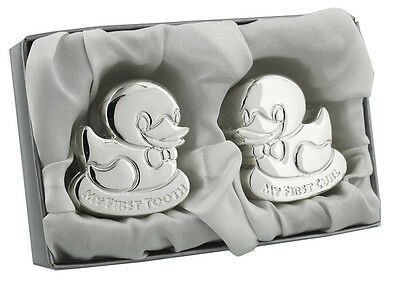First Tooth & Curl Set 2 Ducks Silver Plated Christening Gift Keepsake Boxes