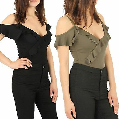 New Ladies Crepe Cami Frill Womens Celeb Inspired Stud Button Party BodySuit Top