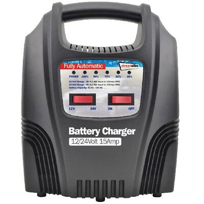 Streetwize SWBCLED15 15 Amp LED Fully Automatic Plastic Cased Battery Charger