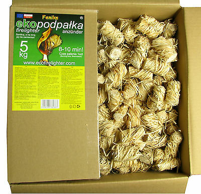 FENIKS Ecological Firelighters 5kg.=550pcs. for Fireplaces, Stoves, Barbecues