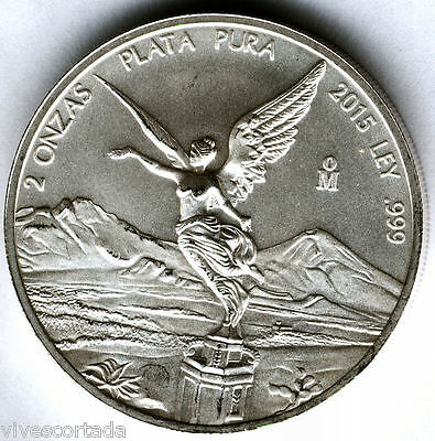 Mexico 2 Oz Angel 2015 Silver pure @ EXCELLENT @
