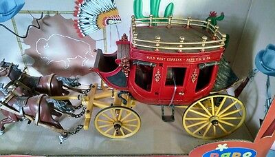 Papo Wild West 4 Horse Rattle Snake Stagecoach w Driver Play Set Wells Fargo