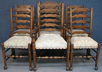 Set Of 6 (4 & 2) Royal Oak Period Style Ladder Back Kitchen / Dining Chairs