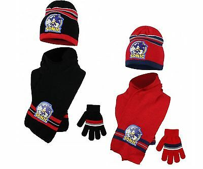 Fully Licensed Official Sonic The Hedgehog Hat Gloves And Scarf Set 3-10Yrs