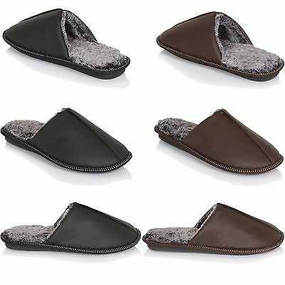 New Mens Slip-On Indoor Flat Warm Mule Slippers Faux Fur Shoes Sizes 7-12