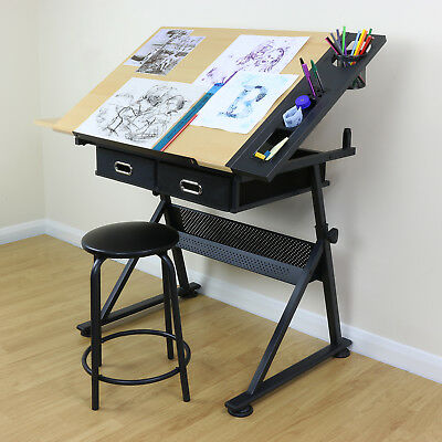 Adjustable Drawing Board Drafting Table With Stool Craft Architect Desk Stand
