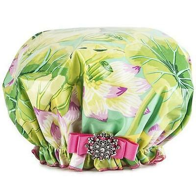 Dry Divas Brand Green/Pink Floral Bouffant Shower Cap - NEW - For Long Hair
