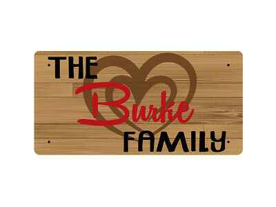 WP_TFAM_0171 The Burke Family - Wooden look - Metal Wall Plate