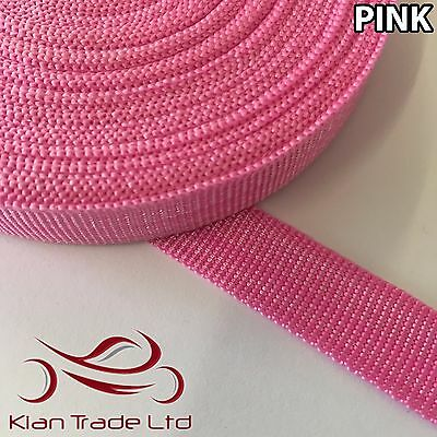 Pink - 12Mm Polypropylene Strap. Light Strong Flexible Webbing Cargo