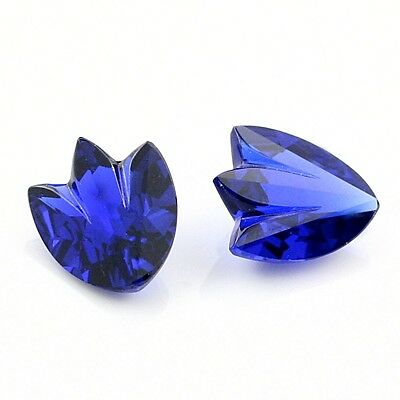 Synthetic Blue Sapphire Fancy Cut Faceted Gemstone 2pcs 10x8mm 7.87ct T.W.
