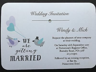 50 Handmade Personalised Wedding Invitations Day/Evening - FREE ENVELOPES!