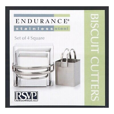 RSVP Endurance Square Biscuit Cutters - Set of 4 Stainless Steel Pastry Cutters