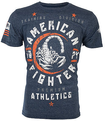 AMERICAN FIGHTER Mens T-Shirt MICHIGAN Athletic NAVY BLUE Biker Gym MMA UFC $40