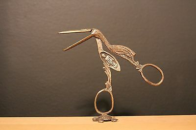 RARE Antique Victorian Stork Midwife Umbilical Scissor Clamp Ribbon Pullers Baby